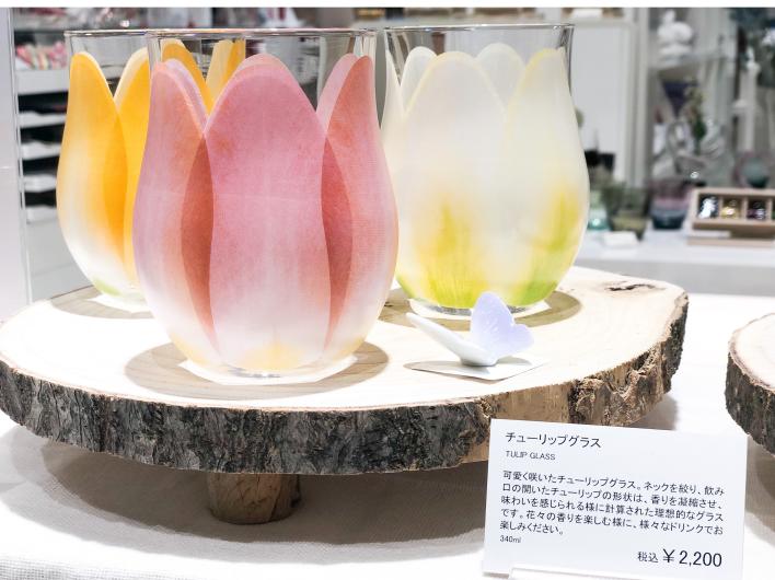 可愛く咲いたチューリップグラス