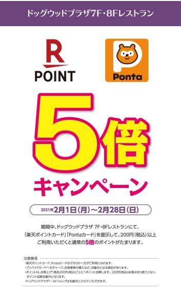 【ドッグウッドプラザ】楽天ポイント・Pontaポイント ポイント5倍キャンペーン