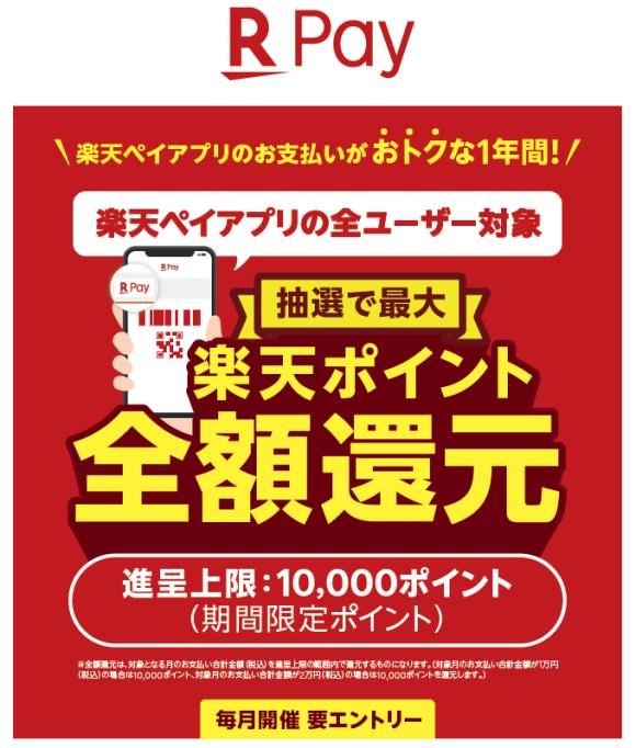 【1年間毎月開催!】「楽天Pay」全額還元抽選キャンペーン!